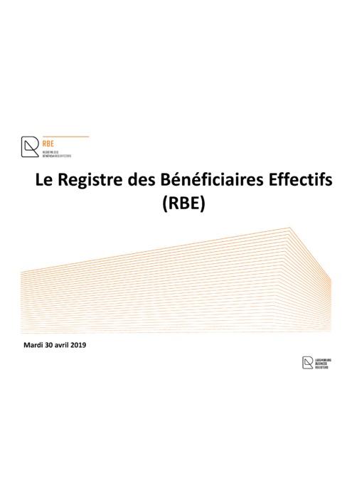 RBE: Support de la conférence à la Chambre des Métiers (avril 2019)
