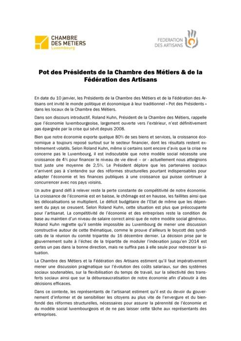 Communiqué Pot des Présidents 2012