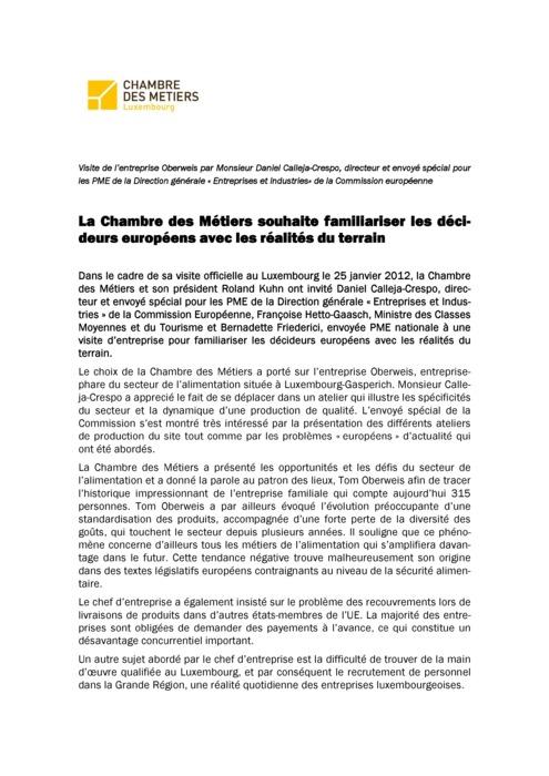 Communique La Chambre des Métiers souhaite familiariser les décideurs européens avec les réalités du terrain 2012