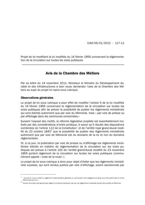 Avis: Circulation sur toutes les voies publiques - Projet de loi