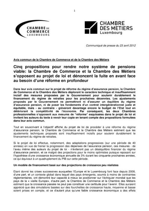 Communiqué Réforme des pensions 2012