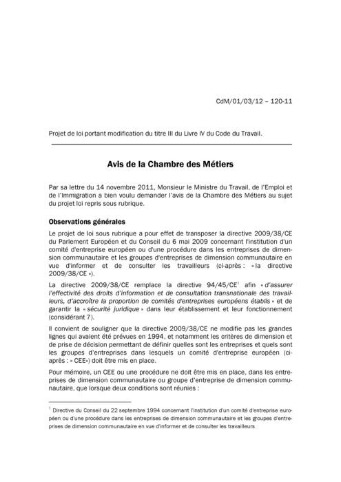 Avis: Institution d'un comité d'entreprise européen
