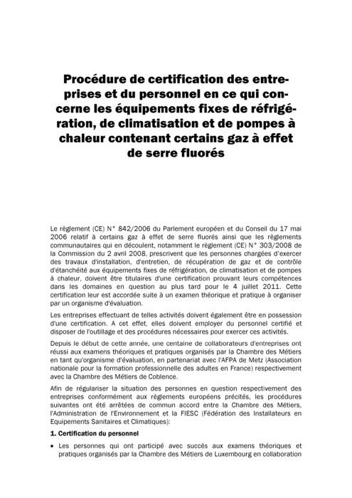 Procédures de certification pour équipements fixes de réfrigération