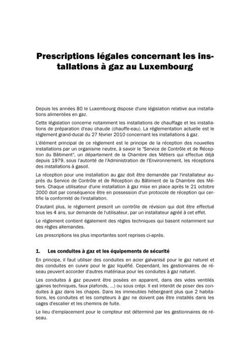 Prescriptions légales concernant les installations à gaz au Luxembourg