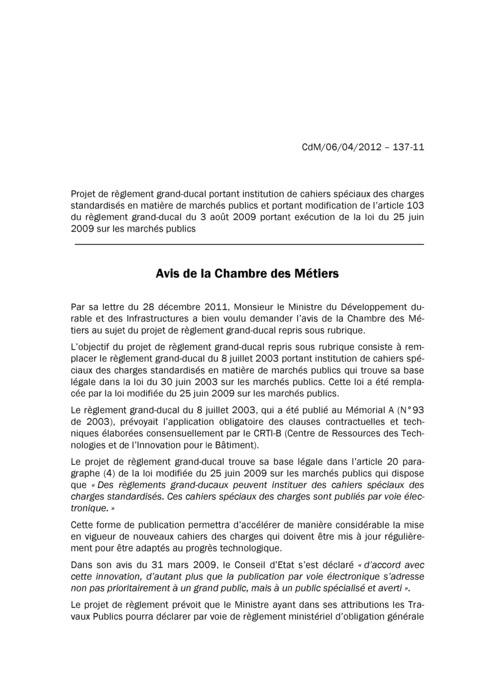 Avis: Institution de cahiers spéciaux des charges standardisés en matière de marchés publics