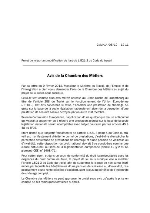 Avis: Code du travail: suppression envisagée d'une clause anti-cumul