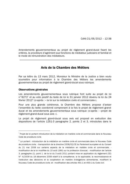 Avis: Fixation des critères, de la procédure d'agrément aux fonctions de médiateur judiciaire et familial et du mode de rémunération des médiateurs