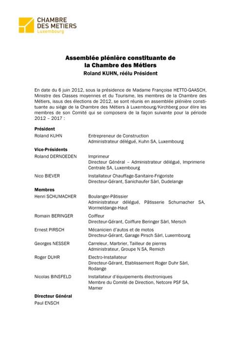 Communiqué Assemblée Plénière Constituante 2012-2017