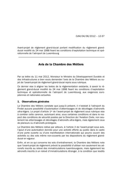 Avis: Conditions d'exploitation technique et opérationnelle de l'aéroport de Luxembourg
