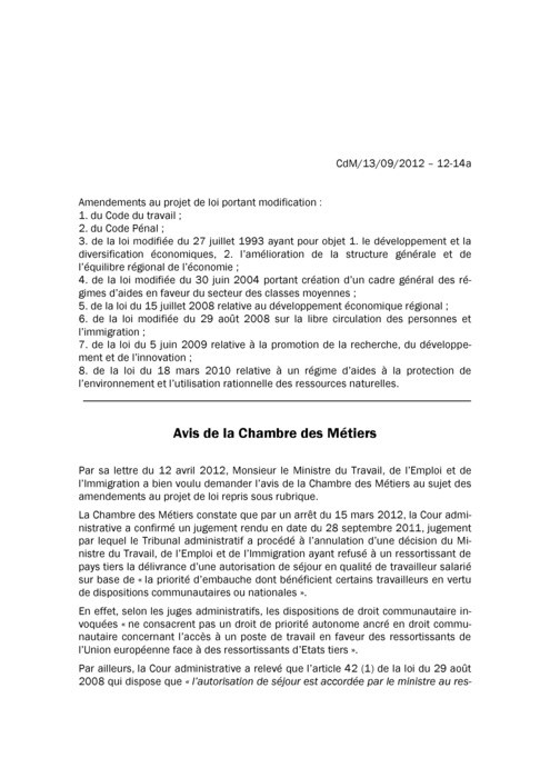 Avis: Amendements Code Travail Travail Clandestin