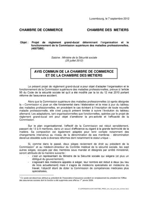 Avis: Organisation et fonctionnement de la Commission supérieure des maladies professionnelles