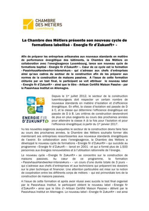 Communique Formation « Energie fir d'Zukunft+ » 2012