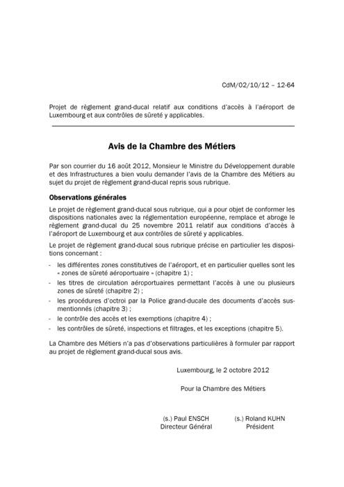 Avis: Conditions d'accès à l'aéroport de Luxembourg