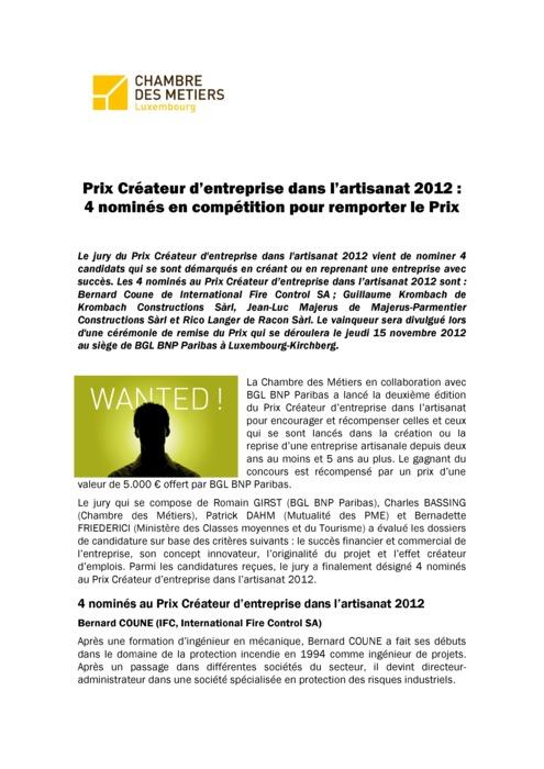 Communiqué Nominés Prix Créateur 2012