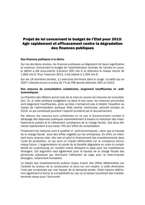 Communiqué Avis Budget 2013