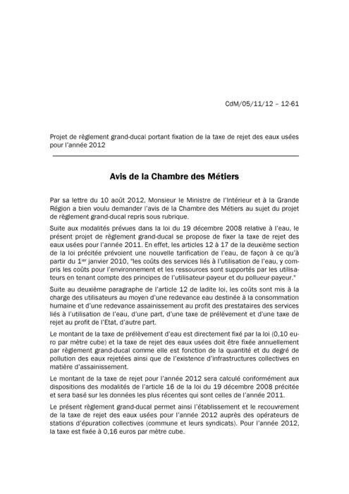Avis: Taxe de rejet des eaux usées pour l'année 2012