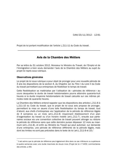 Avis: Code du Travail - Périodes de référence
