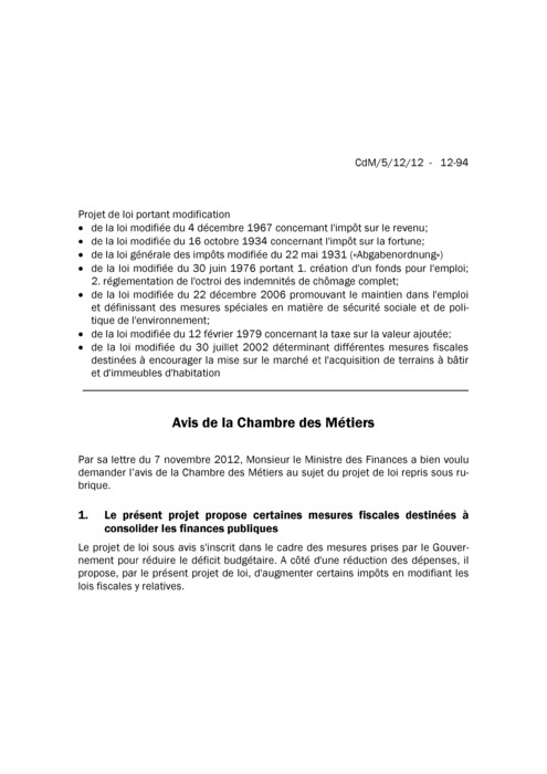 Avis: Mesures fiscales 2012 destinées à consolider les finances publiques