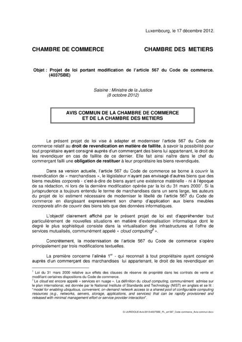Avis: Code de Commerce - Droit de revendication en matière de faillite
