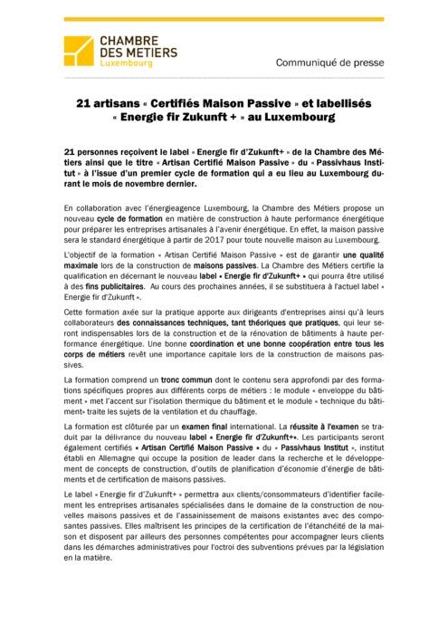 Communiqué Remise Label « Energie fir d'Zukunft+ » 2014