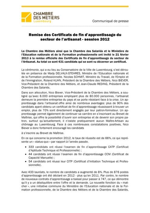 Communiqué Remise CATP 2012
