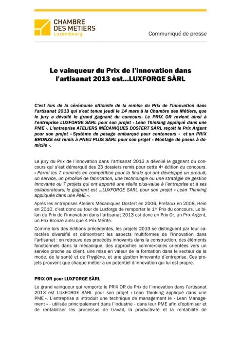 Communiqué Gagnant Prix de L'innovation 2013
