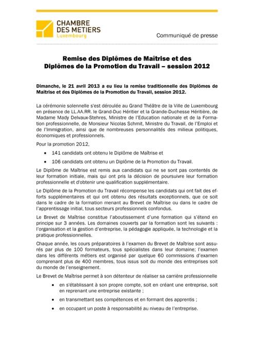 Communiqué Remise Brevet de Maîtrise 2012