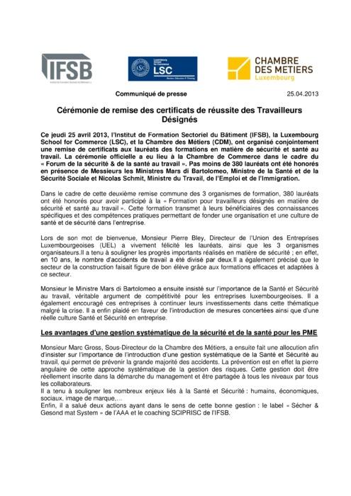Communiqué Remise Travailleur Désignés 2013