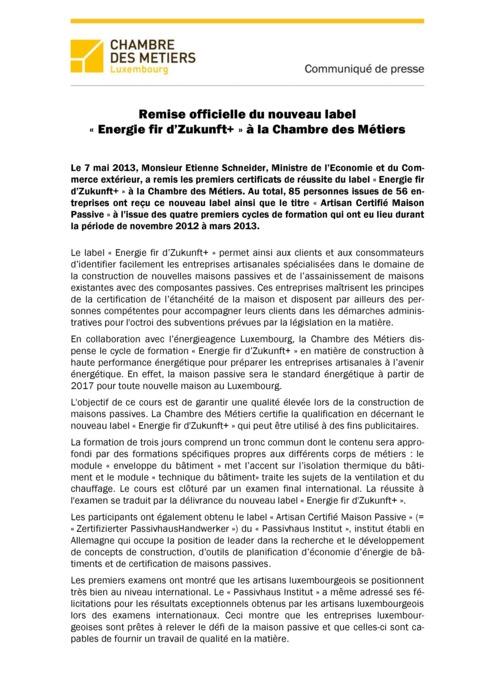 Communiqué Remise Label Energie fir d'Zukunft+ 2013
