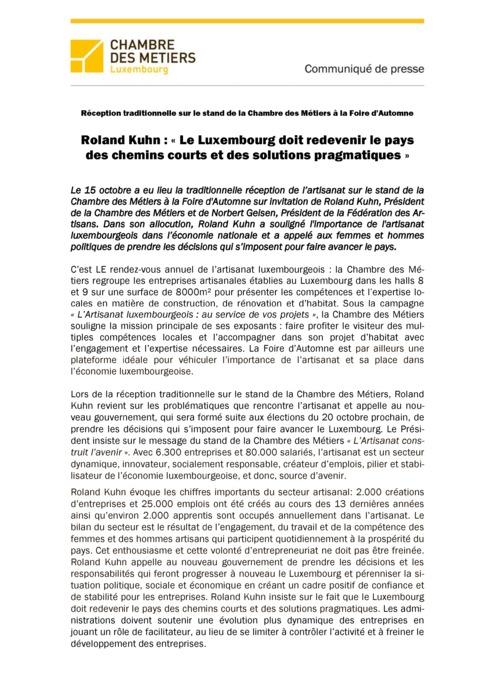 Communiqué Roland Kuhn Le Luxembourg doit redevenir le pays des chemins courts et des solutions pragmatiques 2013