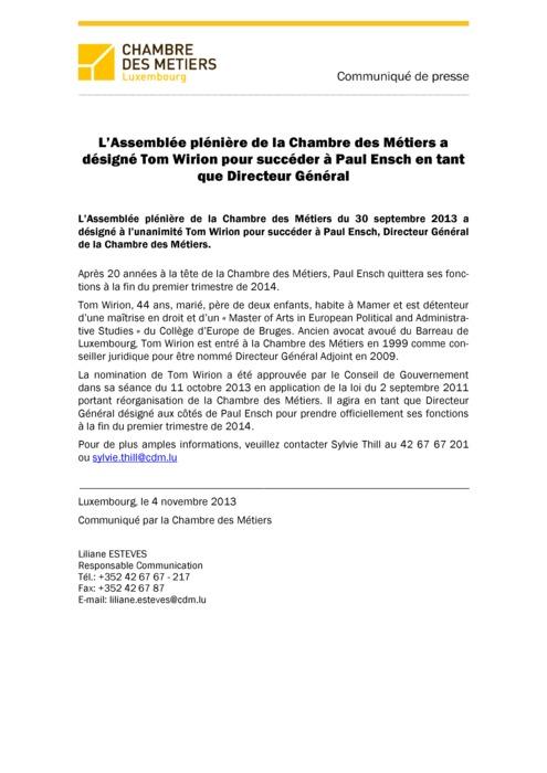 Communiqué Tom Wirion Nommé Directeur Général 2013