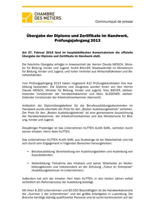 Communiqué Remise CATP 2013 DE