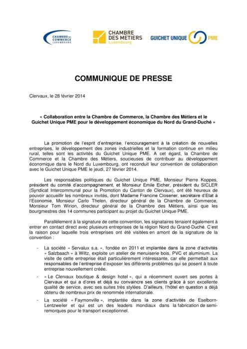Communiqué Guichet unique 2014