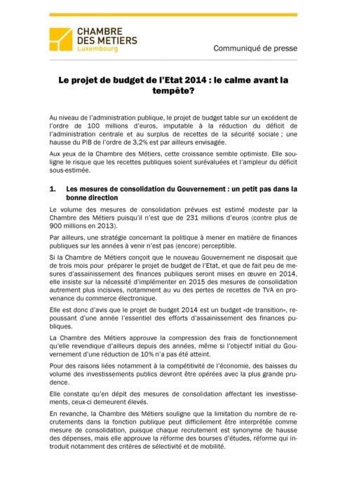 Communiqué Avis Budget 2014