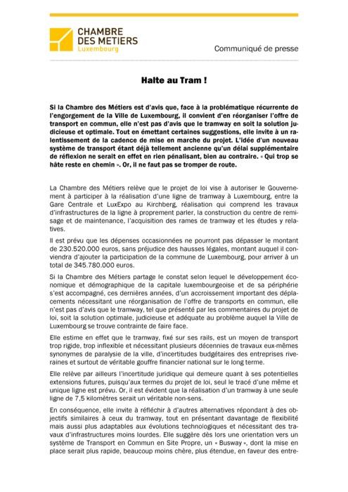 Communiqué Halte au tram 2014