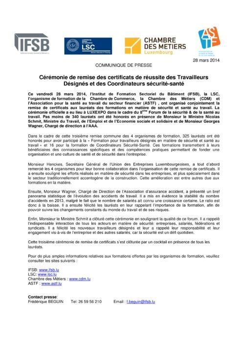Communiqué Remise Travailleurs Désignés 2014