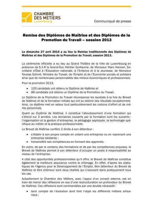 Communiqué Remise Brevet de Maîtrise 2013 FR