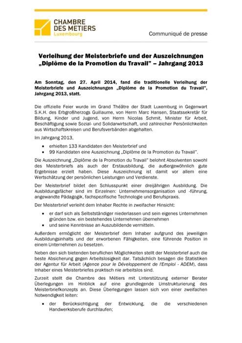 Communiqué Remise Brevet de Maîtrise 2014 DE