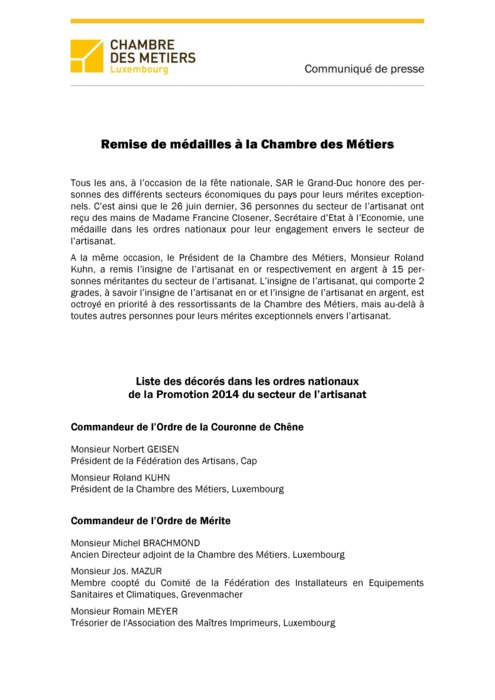 Communiqué Remise Médailles 2014