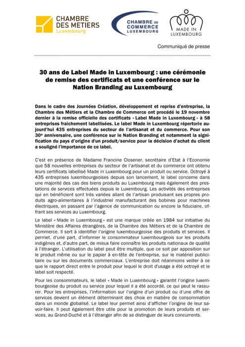 Communiqué Remise Label : 30 ans de Label Made in Luxembourg 2014