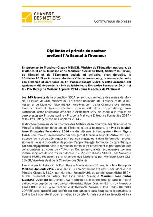Communiqué Remise DAP 2014