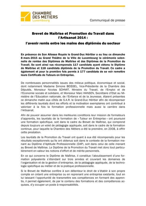 Communiqué Remise Brevet de Maîtrise 2014