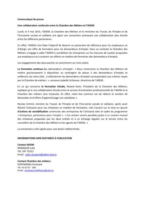 Comm-Presse Partenariat Chambre des métiers