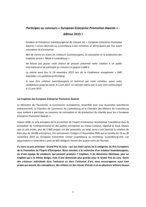 Communiqué SME Assembly - MECO Concours 2015
