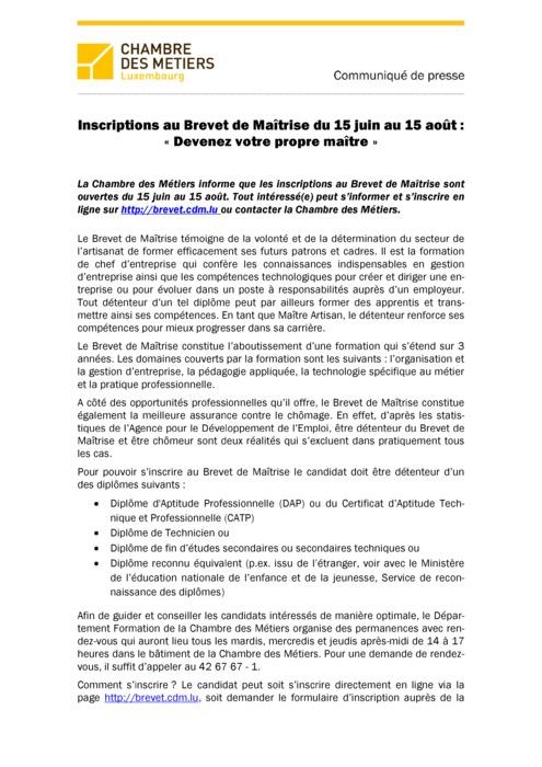 Communiqué Inscriptions Brevet de Maîtrise 2015