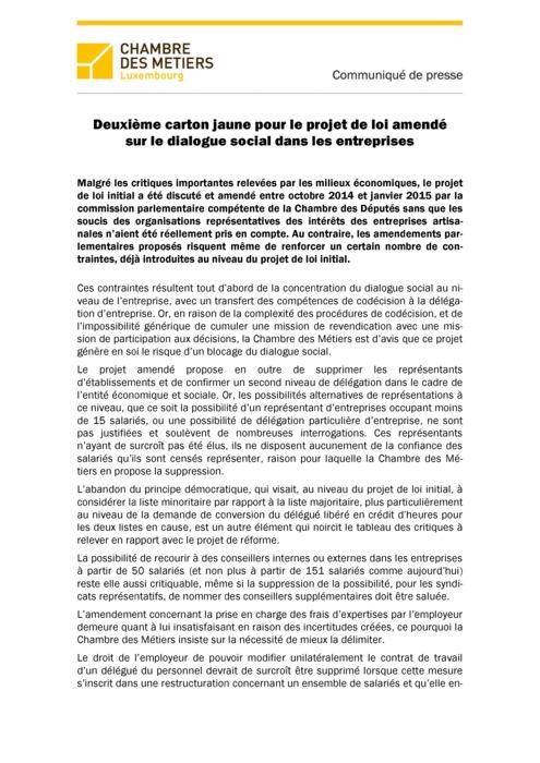 Communiqué Avis Dialogue Social 2015