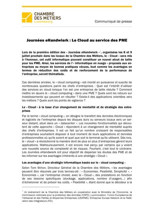 Communiqué Journées eHandwierk - Cloud  2015