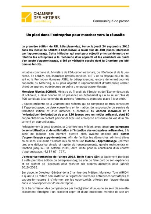 Communiqué RTL Leierplazendag Journée de l'apprentissage 2015