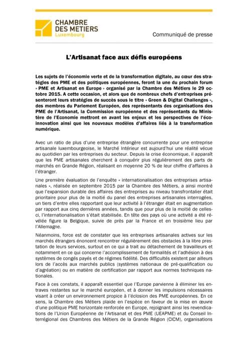 Communiqué L'Artisanat face aux défis européens 2015