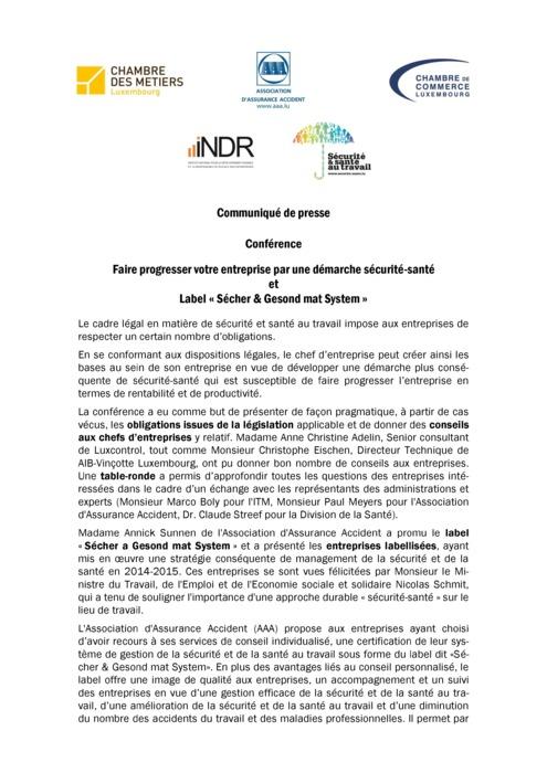 Communiqué Sécurité-santé et Label « Sécher & Gesond mat System » 2015